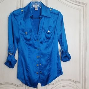 Cache brilliant blue silk blouse XS roll up sleeve